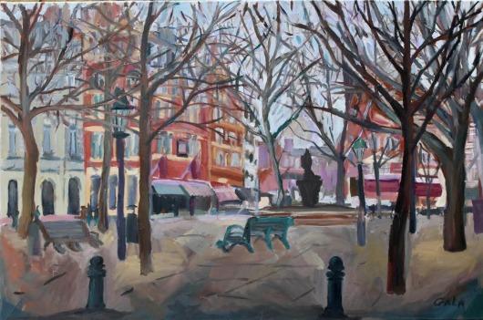 """Sloane Square"" 50x70 cm, oil on canvas"
