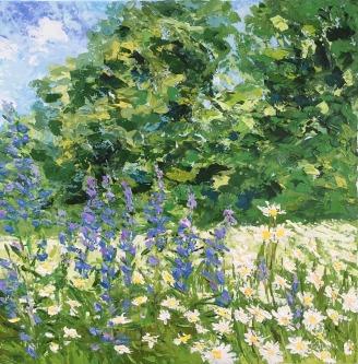 """""""Daisy's meadow"""", 50x50 cm, acrylic on canvas, pallet knife"""