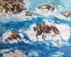 """""""Rocks of Hele Bay"""", 24x30 cm, oil, pallet knife"""