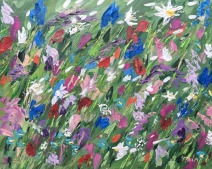 """""""Smiling flowers"""" 24x30 cm, acrylic on board, pallet knife"""