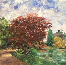 Over lake 50x50 cm,oil on canvas , pallet knife