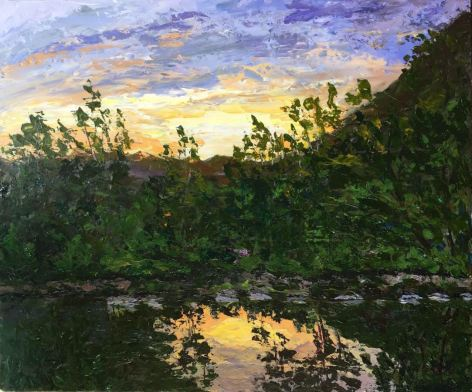 Sunset 45x55 acrylic on canvas, pallet knife