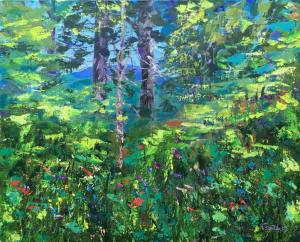 In forest 40x50 cm, acrylic on canvas, pallet knife