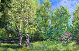 Meadow 55x75 cm acrylic on canvas, pallet knife